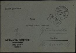 All. Besetzung SBZ Zerbst Gebühr Bezahlt 15.12.1945 Nach Berlin - Sovjetzone