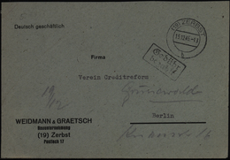 All. Besetzung SBZ Zerbst Gebühr Bezahlt 15.12.1945 Nach Berlin - Soviet Zone