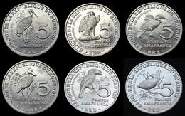 Burundi Coins Set. 5 Francs 2014. UNC Animal Bird. 6PCS - Burundi