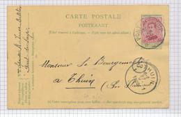 379/29 - Entier Postal Armoiries + TP Petit Albert Surcollé Cachet RELAIS à Etoiles PONT DE LOUP 1920 Vers THUIN - Poststempels/ Marcofilie