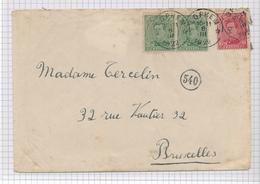 380/29 - Enveloppe TP Petit Albert Cachet RELAIS à Etoiles LOPHEM 1922 Vers Bruxelles - Poststempels/ Marcofilie