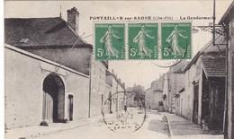 21. PONTAILLER SUR SAONE. CPA . LA GENDARMERIE.. ANNÉE 1917 + TEXTE - Dijon
