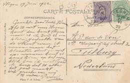 383/29 -  Carte-Vue Dorpstraat TP Petit Albert Cachet RELAIS à Etoiles ITEGHEM 1922 Vers TILBURG NL - Poststempels/ Marcofilie