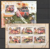 T1310 2009 MOCAMBIQUE HISTORIA DE TRANSPORTES  ESPECIAIS 1 FIRE TRUCK 1SH+1BL MNH - Trasporti