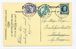 388/29 - Carte-Vue LAROCHE TP Houyoux Cachet RELAIS à Etoiles PRY 1928 Vers STEENBRUGGE - Taxée BRUGGE 10 + 50 C - Poststempels/ Marcofilie