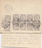 SPECTACULAIRE AFFRANCHISSEMENT  1c BLANC X 10. BANDES ET MILESIME 2.  11 10 1912 + CORRES. - Storia Postale