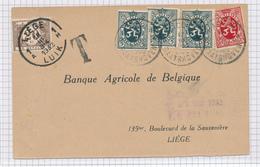 389/29 - Carte Privée TP Lion Héraldique Cachet RELAIS à Etoiles RACOUR RAATSHOVEN 1932 - Taxée LIEGE 20 C - Poststempels/ Marcofilie