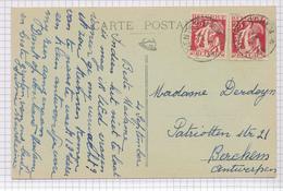 390/29 - Carte-Vue TP Cérès Cachet RELAIS à Etoiles DENTERGHEM 1934 Vers BERCHEM Antw. - Poststempels/ Marcofilie