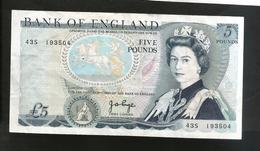 UNITED KINGDOM - BANK Of ENGLAND - 5 POUND (Chief Cashier J. PAGE / 1970 - 1980) - WELLINGTON - 1952-… : Elizabeth II