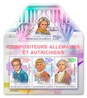 Djibouti  2019  German And Austrian Composers  ,Beethoven , Schubert    S201904 - Djibouti (1977-...)
