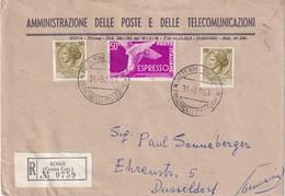 ITALIE 1958 LETTRE RECOMMANDEE DE ROMA AVEC CACHET ARRIVEE DÜSSELDORF - 6. 1946-.. Repubblica