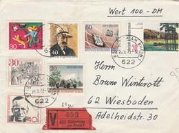Wert 100 DM Brief Rudesheim Am Rhein 20/9/1972 Nach Wiesbaden - Brieven En Documenten