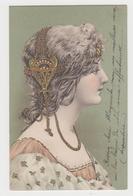 MF150 - Superbe Illustration Portrait De Femme - Gaufrée Et Dorée - FRAU - LADY - Art Nouveau - 1900-1949