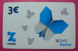 Kosovo Prepaid Phonecard, 3 Euro. Operator ZMOBILE *Butterfly*, Serial # 8....... - Kosovo