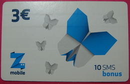 Kosovo Prepaid Phonecard, 3 Euro. Operator ZMOBILE *Butterfly*, Serial # 9....... - Kosovo
