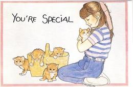 5 Chats Et Fillette -cats And Child-poesjes En Meisje-katze Und Mädchen - Katten