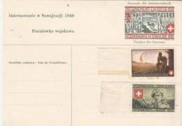 Carte Postale Militaire Timbre Des Internés - Internement En Suisse Pour Pologne Avec 2 Vignettes - Neuve - Poste Militaire