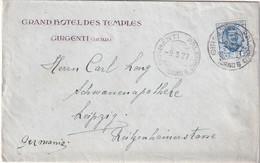 ITALIE 1927 LETTRE DE GIRGENTI  GRAND HOTEL DES TEMPLES - Poststempel
