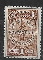 1911 CHINA - POSTAGE DUE 1c 2nd LONDON PRINTING MINT H CHAN D15 $25 - China