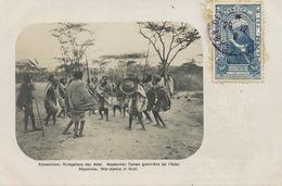 Real Photo Abyssinie Danse Guerrière De L' Adal Edit Arnold Holtz Adis Ababa . Timbrée . Stamped To Paris - Ethiopia
