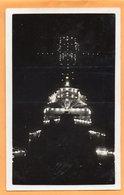 UK Warships Illiuminated At Corfou Greece 1930 Real Photo Postcard - Grèce
