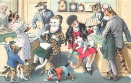 ANTHROPOMORPHIC CATS - UNSIGNED BUT IN THE STYLE OF LOUIS WAIN #93501 - Cats