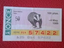 CUPÓN DE LA ONCE SPANISH LOTERY CIEGOS SPAIN LOTERÍA ESPAÑA BLIND 1988 FAUNA IBÉRICA ANIMALS TEJÓN BADGER VER FOTO/S Y D - Billetes De Lotería