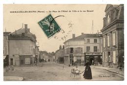 CPA Marne (51) SERMAIZE LES BAINS Place De L'hotel De Ville,et La Rue Bénard.landau Ancien.commerces.        .E.60 - Sermaize-les-Bains