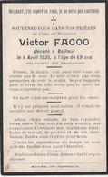 Bailleul - Image Mortuaire De FAGOO Victor Charles (X BILLIAU Marie Louise Léonie) - Décès