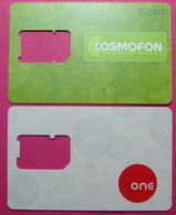 Macedonia Lot Of 2 CHIP Phone Numbers, Operators: COSMOFON & ONE. Used - Macedonië