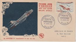 France FDC 1954 Mystère IV PA 30 - FDC