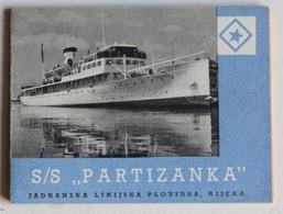 Document Publicitaire Paquebot Croate S/S Partizanka Kotor Sibenik Opatija Puia Croatie Jugoslavia - Bateaux