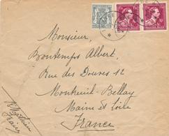 394/29 - 2 X Enveloppe Cachet RELAIS à Etoiles FRAIRE 1946 Et Griffe FRAIRE 1945 Via CHARLEROI - Poststempels/ Marcofilie