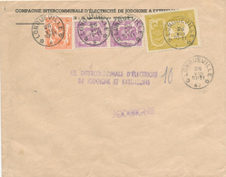 395/29 - Enveloppe TP Armoiries Et Petit Sceau Cachet RELAIS à Etoiles LONGUEVILLE 1947 - Entete Electricité De JODOIGNE - Poststempels/ Marcofilie