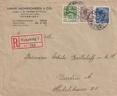 DANEMARK 1923 LETTRE RECOMMANDEE DE NYKÖPING AVEC CACHET ARRIVEE DRESDEN - Brieven En Documenten