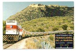 Tarjeta Postal Centenario Ferrocarril Alicante-denia Con Matasello Commemorativo Exposicion Filatelica - 1931-Hoy: 2ª República - ... Juan Carlos I