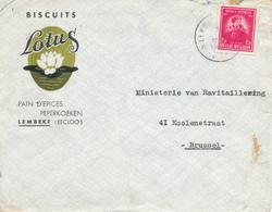 399/29 - Enveloppe TP 749 De Gerlache Cachet RELAIS à Etoiles LEMBEKE (Eecloo) 1947- Entete Biscuits Pains Epices Lotus - Poststempels/ Marcofilie