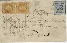 25 Février 1871- Enveloppe De LAON ( Aisne ) Pour Paris Affr. Paire N°28 + 20 C Alsace Lorraine Oblit. G C 1959 - Marcophilie (Lettres)
