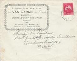 401/29 - Enveloppe TP 749 De Gerlache Cachet RELAIS à Etoiles DESTELDONCK 1947 - Entete Horticulture Van Damme § Fils - Poststempels/ Marcofilie