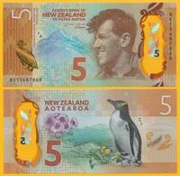 New Zealand 5 Dollars P-191 2015 UNC Polymer Banknote - New Zealand