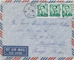 402/29 - Enveloppe TP Lunettes Cachet RELAIS à Etoiles BEEZ 1959 - TARIF AVION Vers JADOTVILLE , Congo Belge - Poststempels/ Marcofilie