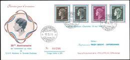 1951 Grande Duchesse 30e Anniversaire De L'avènement Au Trône, Michel:444,452,458,459 - FDC