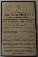 Méteren : Image Mortuaire DECHERF Henri César ( X NUNS Léontine Clémentine) - Décès