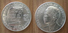 Cuba 50 Centavos 1853 1953 Commemo 100 Ans Marti Silver Argent Centavo Que Prix + Port Pesos Paypal Bitcoin - Cuba