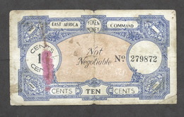 WWII - Banconota - East Africa Command - Token Money - 10 Cents - N. 279872 - Banconote