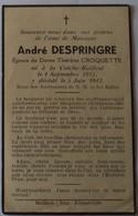 Bailleul : Image Mortuaire DESPRINGRE André Jean Marie ( X CROQUETTE Marie Thérèse) - Décès