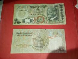 2 BILLETS DE 100 ET 50 TURC LIRASI 1970 VOIR PHOTOS - Turkije