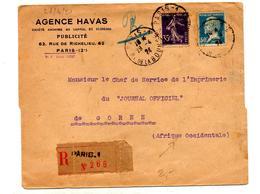 Lettre Recommandee Paris 1 Sur Pasteur Semeuse - Postmark Collection (Covers)