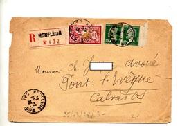 Lettre Recommandee Honfleur Sur Pasteur Merson - Postmark Collection (Covers)