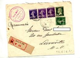 Lettre Recommandee Paris 28 Sur Pasteur Semeuse - Postmark Collection (Covers)